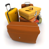 Luggage kit in ochre shades. With traveller�s sunglasses and gloves on top vector illustration
