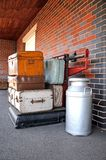 Luggage on large scales, Brownhills West railway station. Royalty Free Stock Image