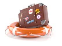 Luggage with life buoy. Isolated on white background Royalty Free Stock Image