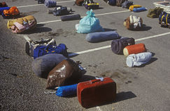 Luggage lined up in parking lot Royalty Free Stock Images