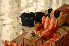 Luggage in lobby. Luggage in hotel a lobby Royalty Free Stock Photos