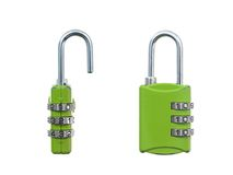 Luggage Lock. A luggage lock isolated against a white background royalty free stock photos