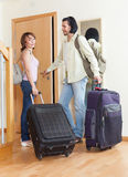 With luggage near the door in a nice house Royalty Free Stock Image