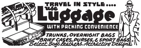 Luggage With Packing Convenience. Retro Ad Art Banner stock illustration