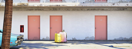 Luggage beside parked car outside motel. 3d rendering Royalty Free Stock Photo