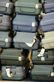 Luggage pile up. Luggages pile up at the airport due to delay stock photo