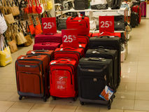 Luggage for sale at a store in canada. Colorful suitcases and handbags being sold at a retail shop Royalty Free Stock Photo