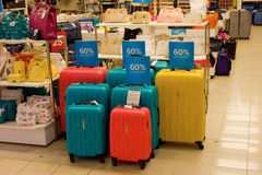 Luggage for sale at a store in canada royalty free stock photography