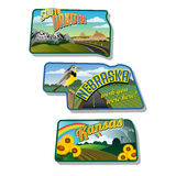 Luggage stickers South Dakota Nebraska Kansas. Suitcase stickers South Dakota, Nebraska, Kansas Royalty Free Stock Images