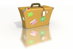 Luggage with stickers and tags Stock Photo