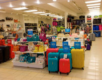 A luggage store at a shopping mall Royalty Free Stock Images