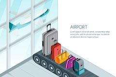 Luggage, suitcase, bags on conveyor belt in airport terminal. Vector 3d isometric illustration. Travel baggage banner. Different luggage, suitcase, bags on Royalty Free Stock Photography
