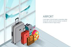 Luggage, suitcase, bags near the airport terminal window. Vector 3d isometric illustration. Travel baggage banner. Luggage, suitcase, bags near the airport Stock Photos