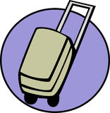 Luggage, suitcase or briefcase. Vector available. Illustration of a luggage cart case with wheels and handle. Can also depict a suitcase or briefcase. Vector Royalty Free Stock Photo
