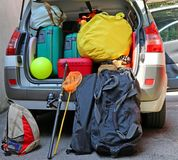 Luggage and suitcases in car for departure. For summer holidays Stock Photo