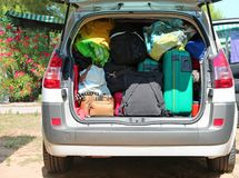 Luggage and suitcases in car for departure Stock Photo