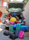 Luggage and suitcases in car for departure. For summer holidays Stock Images