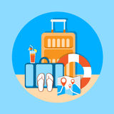 Luggage Summer Vacation Trip Tropical Island Seaside Beach Royalty Free Stock Images