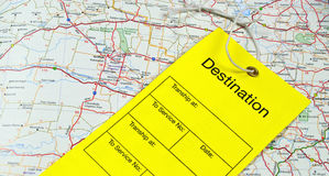 Luggage Tag and map Royalty Free Stock Images