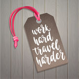 Luggage tag with travel inspiration quote. Royalty Free Stock Photography