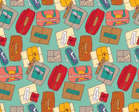 Luggage things boxes suitcase cargo color seamless pattern. Royalty Free Stock Images