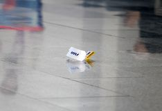 Luggage ticket lies on the floor royalty free stock photography