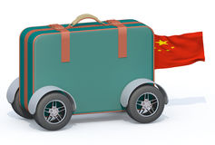 Luggage with tires and china flag Stock Image