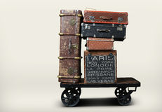 Luggage tourists. With big suitcases on a cart royalty free stock photo