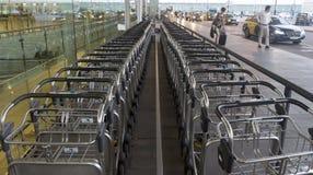 Luggage transportation carts Royalty Free Stock Images