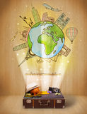 Luggage with travel around the world illustration concept. On grungy background Stock Photography