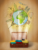 Luggage with travel around the world illustration concept. On grungy background Royalty Free Stock Photo