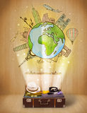 Luggage with travel around the world illustration concept Royalty Free Stock Photo