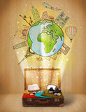 Luggage with travel around the world illustration concept Stock Image
