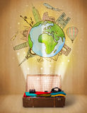 Luggage with travel around the world illustration concept Stock Photos