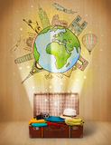 Luggage with travel around the world illustration concept Stock Images