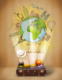 Luggage with travel around the world illustration concept Stock Photo