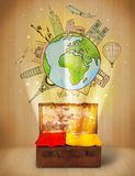 Luggage with travel around the world illustration concept. On grungy background Stock Image