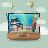Luggage Travel Bag Landmark Background Vector. Luggage Travel Bag Landmark Background Royalty Free Stock Photos