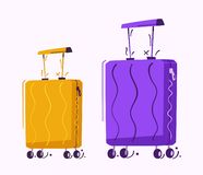 Luggage for travel. Cartoon vector illustration. Contemporary suitcase. Baggage on the plane royalty free illustration