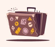Luggage for travel. Cartoon vector illustration. Retro suitcase. Baggage on the plane vector illustration