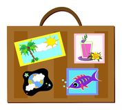 Luggage with Travel Decals Royalty Free Stock Photography