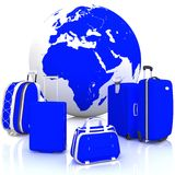 Luggage for travel with globe on white Stock Photo