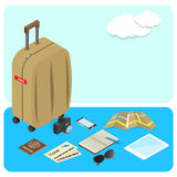 Luggage with travel kit accessories icon Royalty Free Stock Images