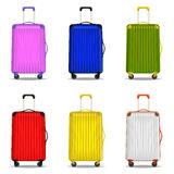 Luggage for travel. Vector illustration of six suitcases for travel Royalty Free Stock Photography