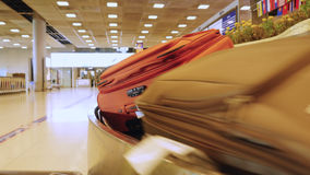 Luggage travels on a conveyor belt in the airport Stock Photo