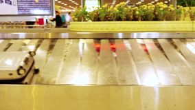 Luggage travels on a conveyor belt in the airport. 3840x2160. 4k stock footage