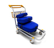 Luggage trolley. 3D render of suitcases on a luggage trolley Royalty Free Stock Photography