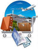 Luggage on trolley in airport Stock Photography