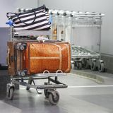 Luggage on a trolley at the airport. Square view Stock Images