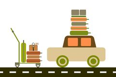 Luggage trolley and car. Suitcases, luggage on top stock illustration